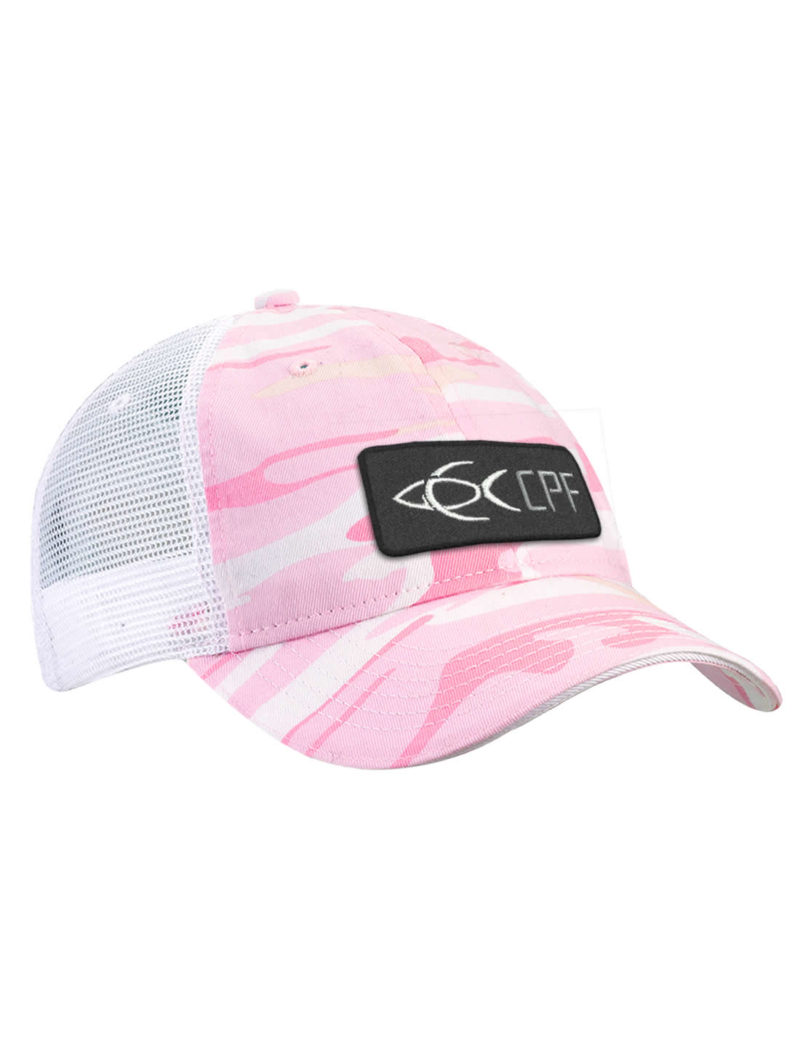 5331e2fa050 CPF Badge Pink Camo and White Mesh Back Ladies Fishing Hat