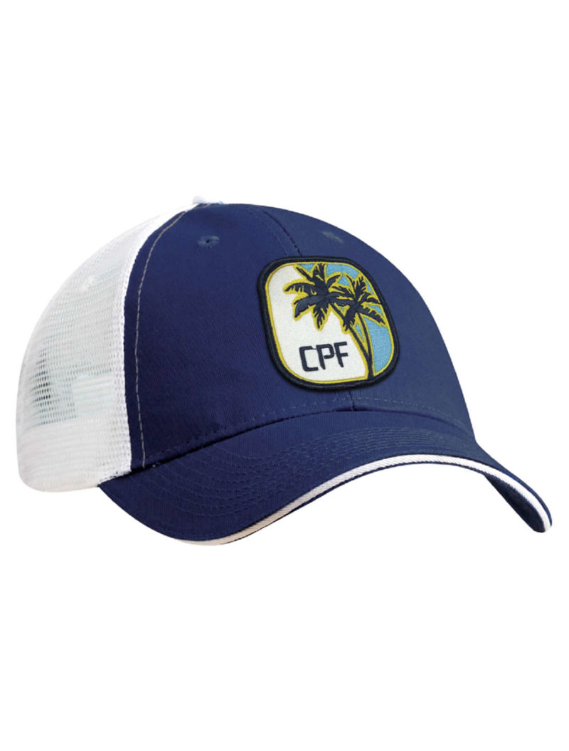 6ae339d6865 CPF Palms Royal Blue and White Mesh Back Fishing Hat