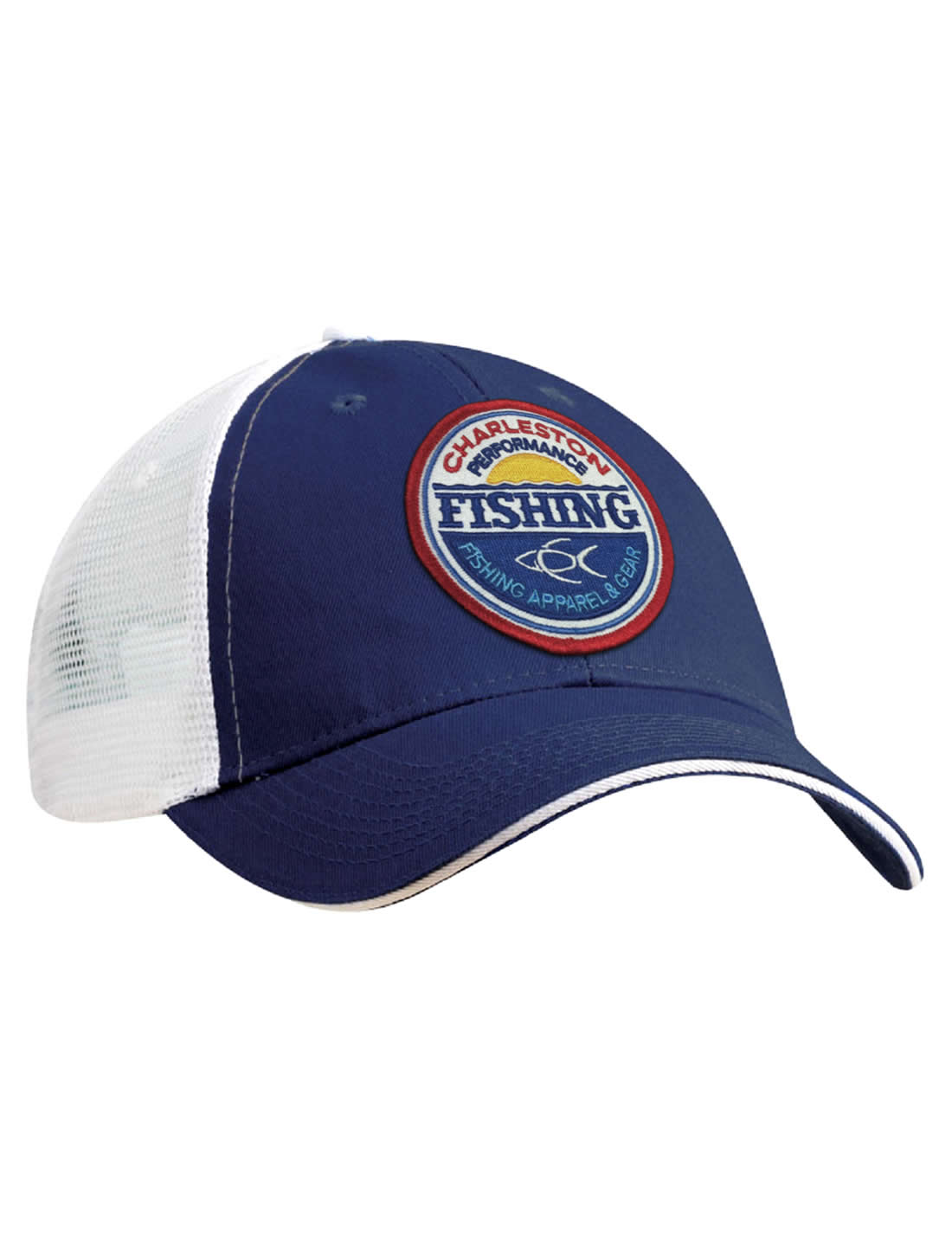 CPF Sunset Fishing Royal Blue and White Mesh Back Fishing Hat - CPF Gear 697ded20363