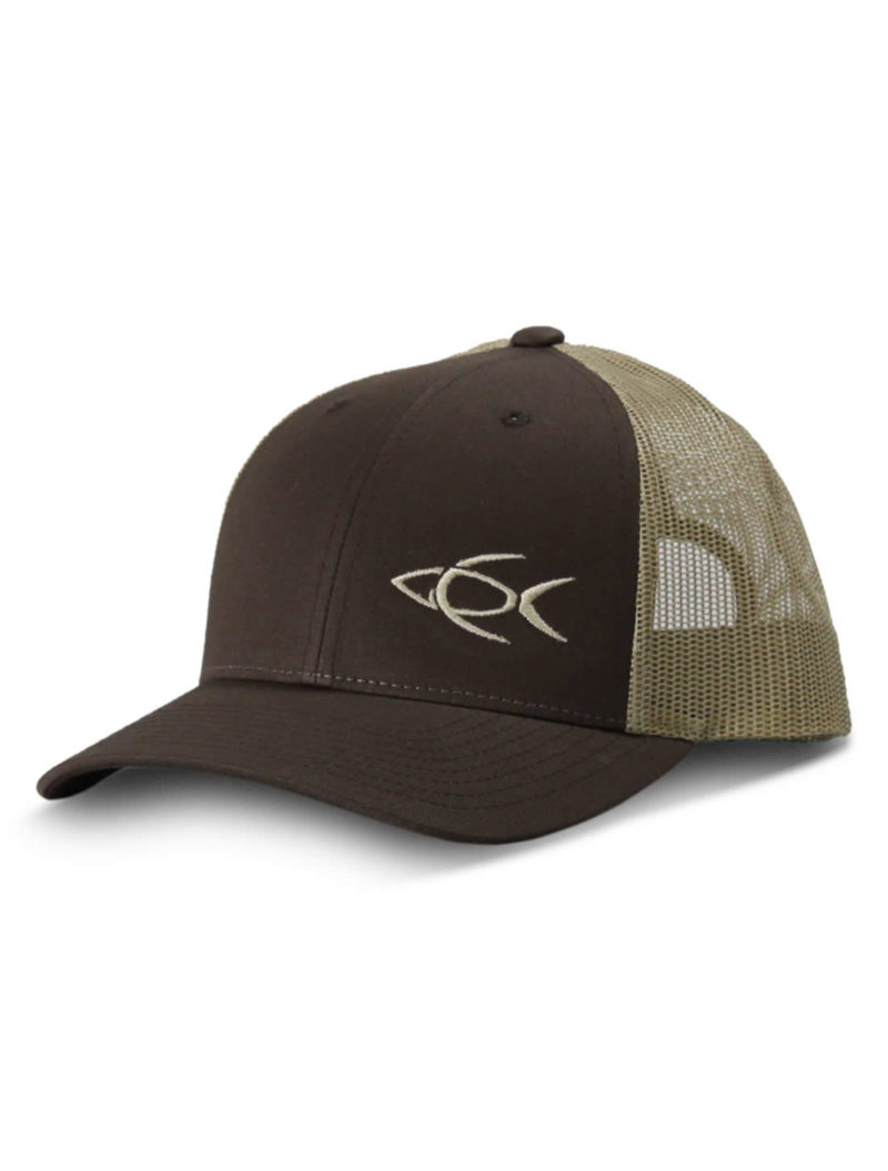 01d85235a17 CPF Embroidered Fish Brown and Tan Mesh Back Fishing Hat