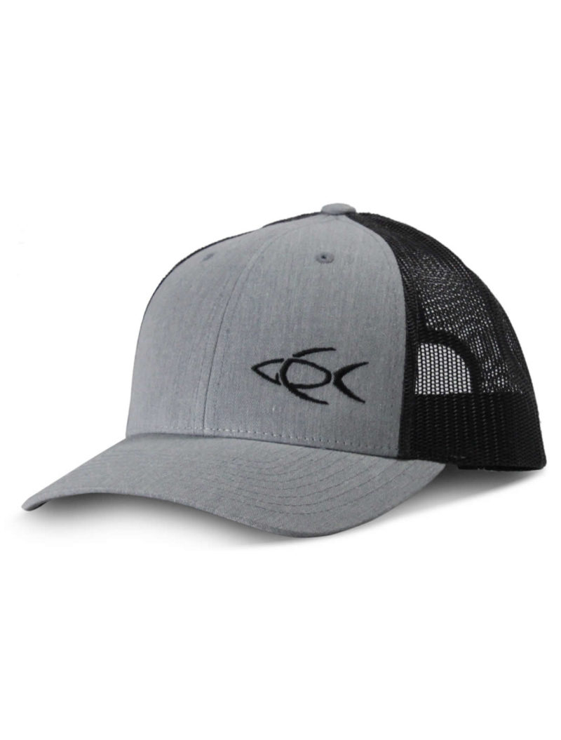 121751a234339 CPF Embroidered Fish Charcoal and Black Mesh Back Fishing Hat