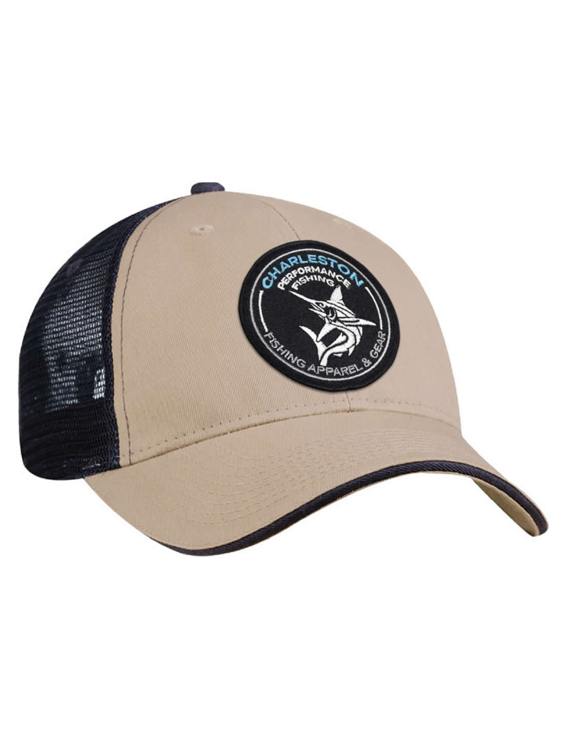 c87a2dbe7f960 Tribal Marlin Khaki and Navy Blue Mesh Back Fishing Hat - CPF Gear