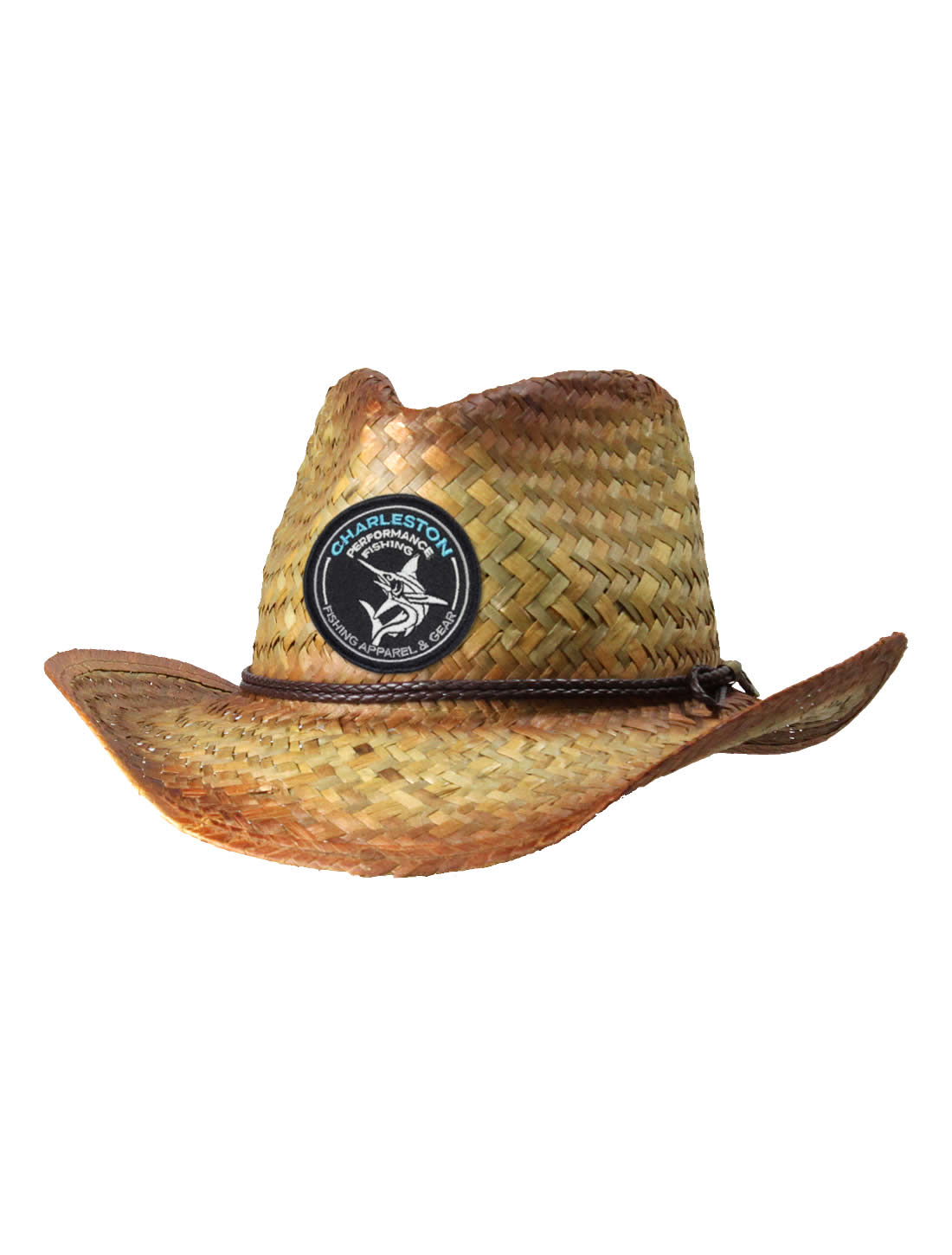 a1b6367b0d748 Tribal Marlin Tea-Stained Straw Cowboy Fishing Hat - CPF Gear