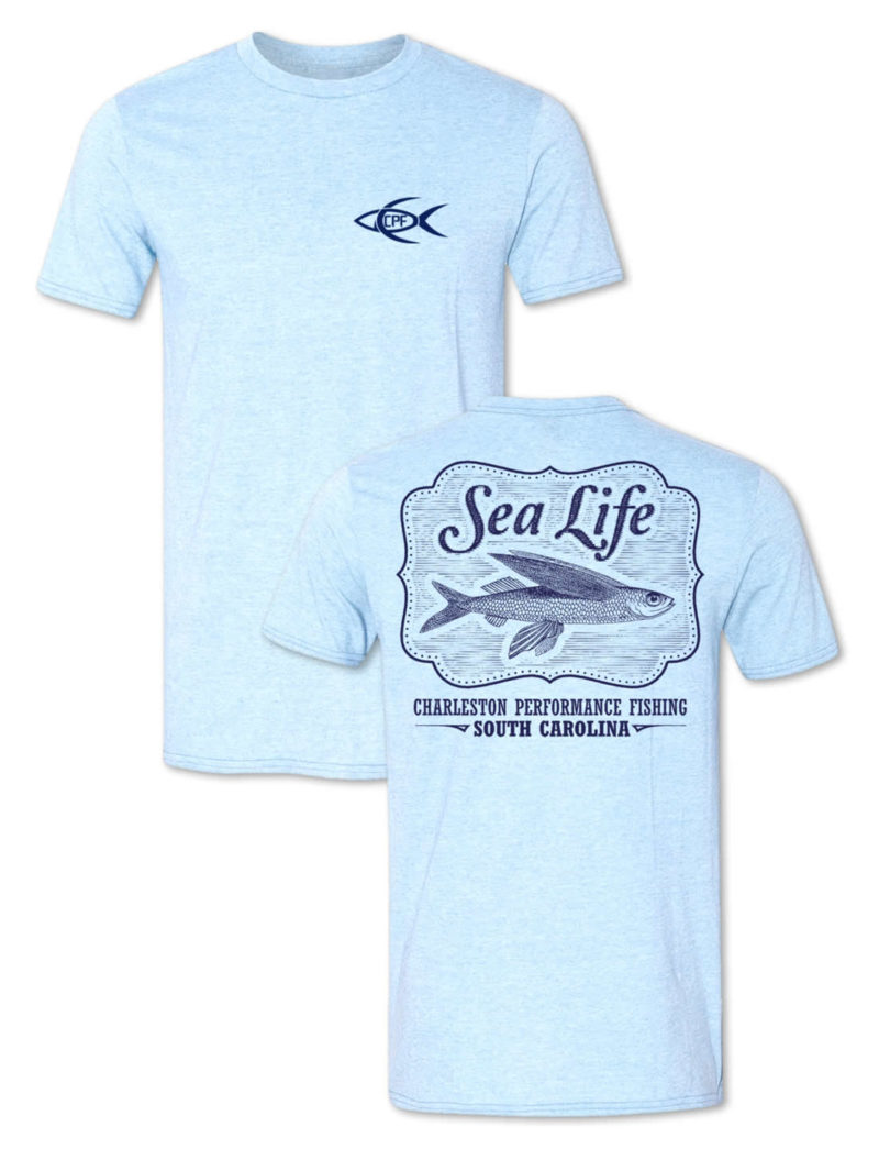 CPF Sea Life Fishing T-Shirt - Heather Light Blue
