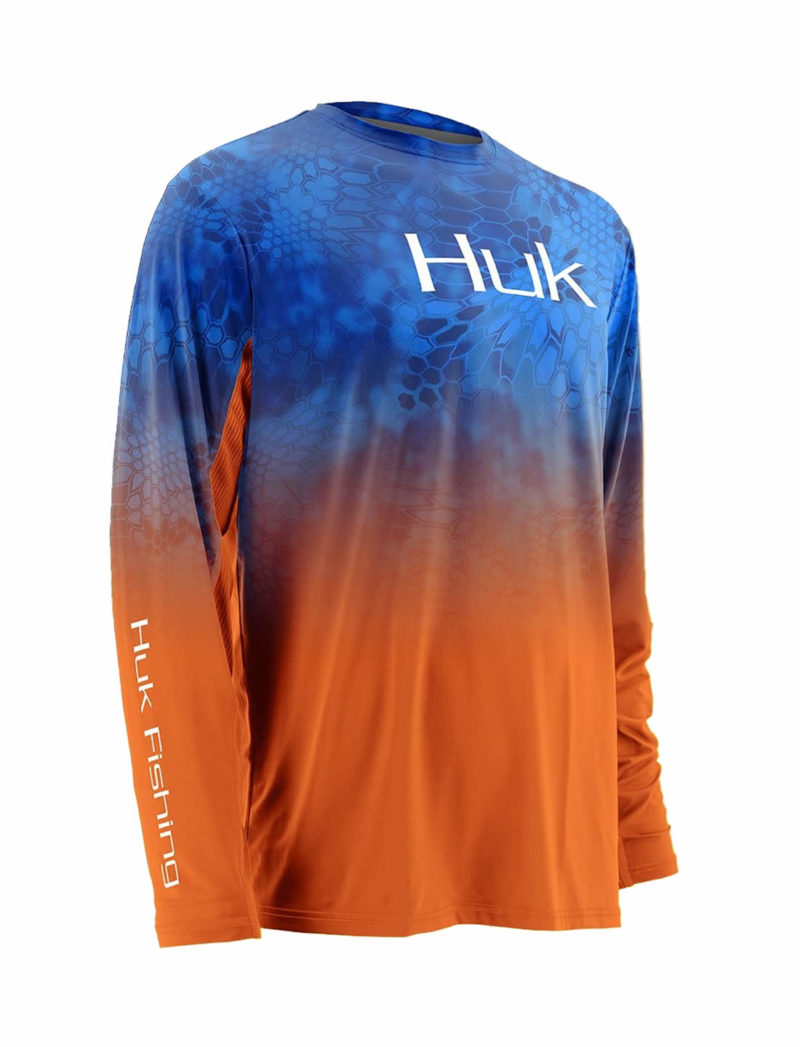 Huk Kryptek ICON Fade Long Sleeve Fishing Shirt - Royal / Orange