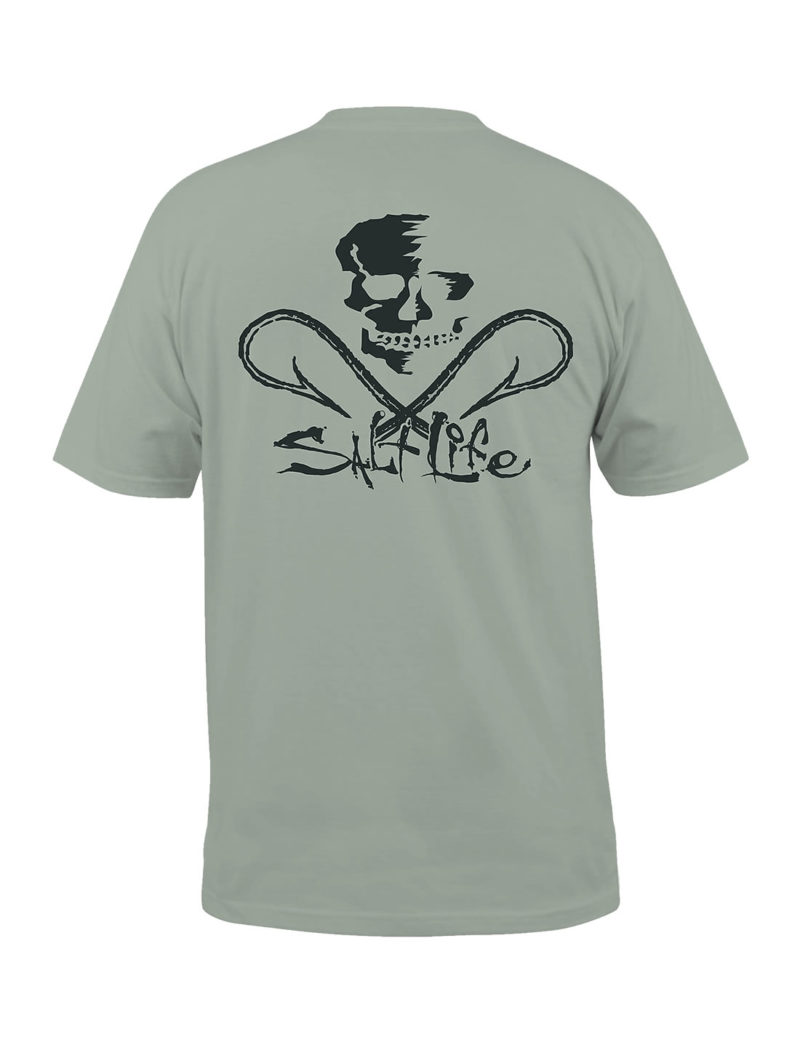 Salt Life Skull and Hooks Fishing T-Shirt - Olive